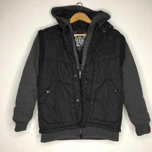Pelle Pelle Black Gray Hooded Bomber Jacket